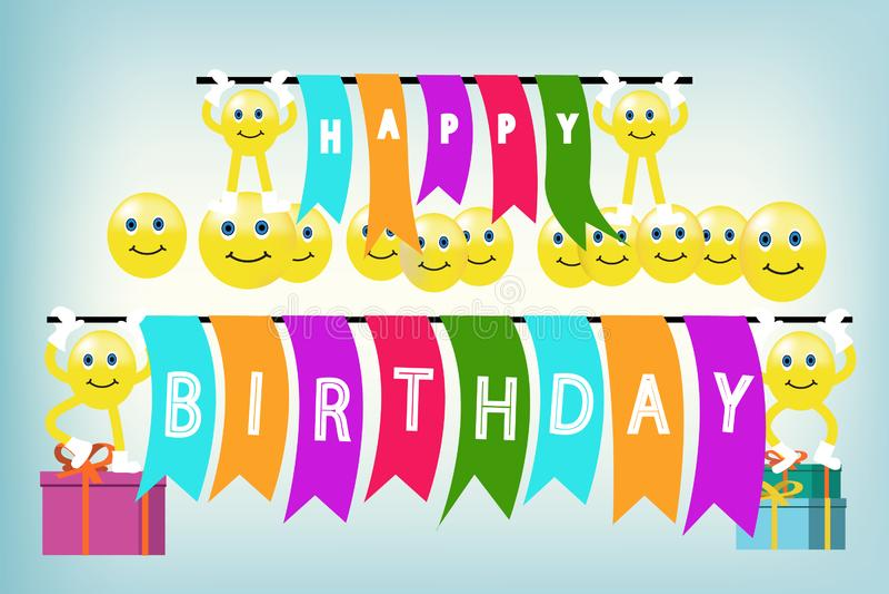 Projeto do vetor do feliz aniversario com cara do sorriso ilustração royalty free
