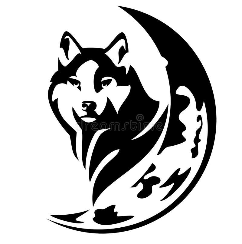 Projeto do vetor do lobo e da lua ilustração royalty free