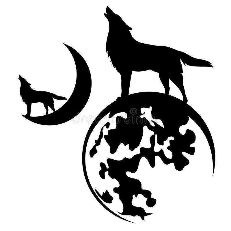 Projeto do vetor do lobo e da Lua cheia do urro ilustração stock