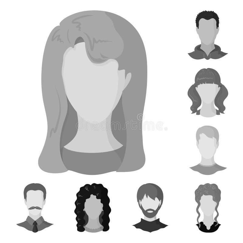 Projeto do vetor do logotipo do caráter e do perfil Ajuste do símbolo de ações do caráter e do manequim para a Web ilustração do vetor