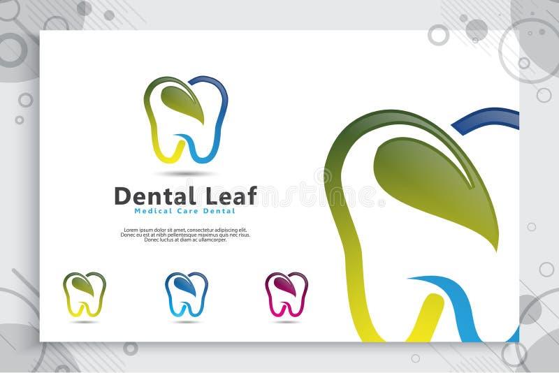 Projeto do vetor do logotipo da clínica dos cuidados dentários com conceito moderno da cor, ilustração do dentista saudável e méd ilustração royalty free