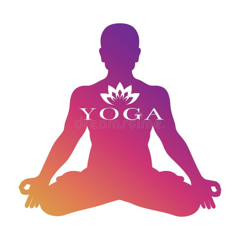 Projeto do vetor do logotipo da ioga Silhueta masculina da meditação isolada no fundo branco ilustração royalty free