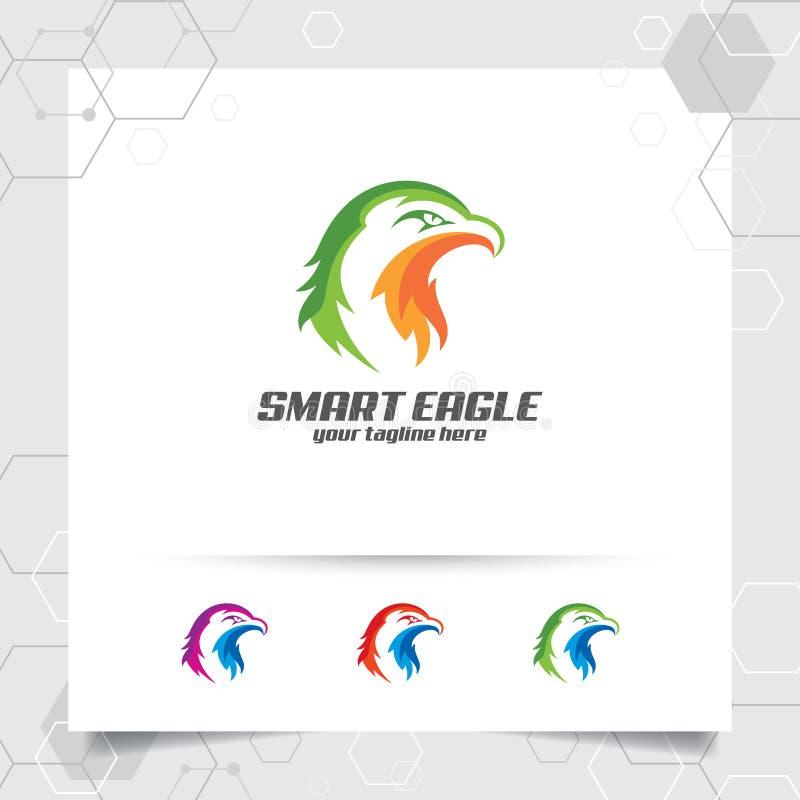 Projeto do vetor do logotipo da mascote da cabeça de Eagle com um projeto liso simples da ilustração do ícone do falcão e do falc ilustração royalty free