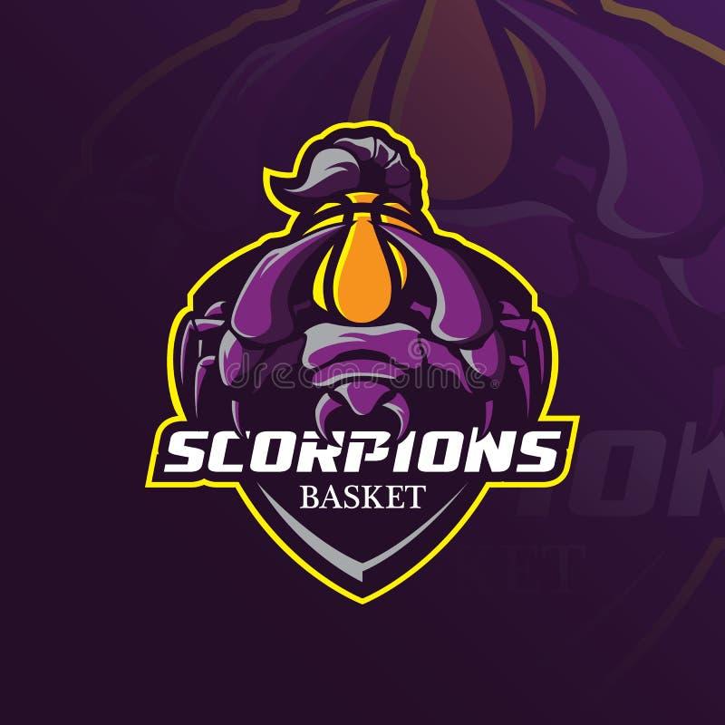 Projeto do vetor do logotipo da mascote do escorpião com estilo moderno do conceito da ilustração para o crachá, o emblema e a im ilustração royalty free