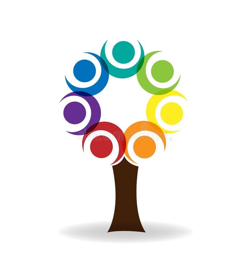 Projeto do vetor do logotipo dos povos da unidade da árvore dos trabalhos de equipa ilustração do vetor