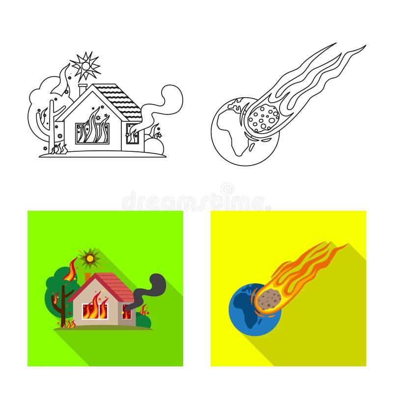 Projeto do vetor do logotipo natural e do desastre Coleção do ícone natural e do risco do vetor para o estoque ilustração royalty free