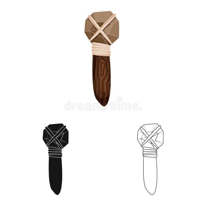 Projeto do vetor do martelo e do sinal pré-histórico Coleção do símbolo de ações do martelo e da ferramenta para a Web ilustração royalty free