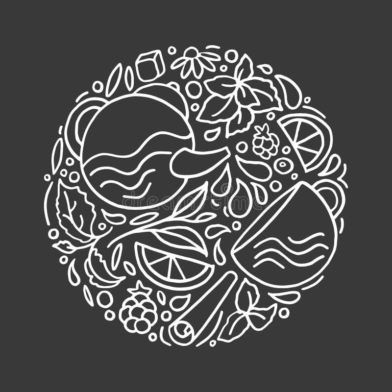 Projeto do vetor no círculo Tisana natural ilustração do vetor