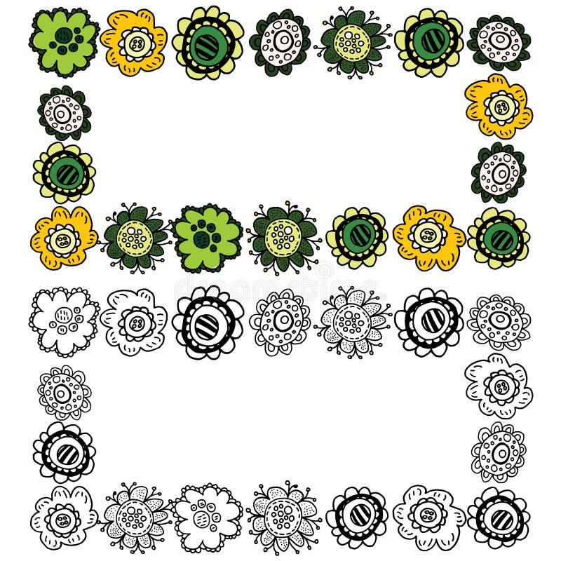 Projeto do vetor Quadro personalizado da cor com flores da garatuja ilustração do vetor