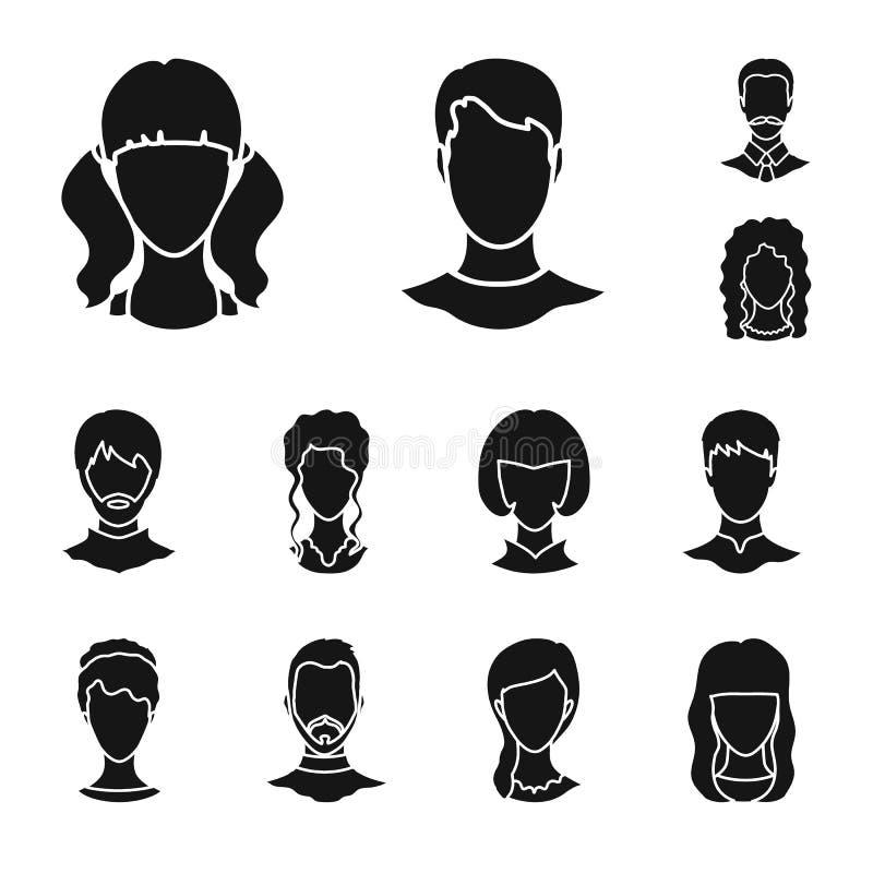 Projeto do vetor do símbolo do caráter e do perfil Ajuste do ícone do vetor do caráter e do manequim para o estoque ilustração royalty free
