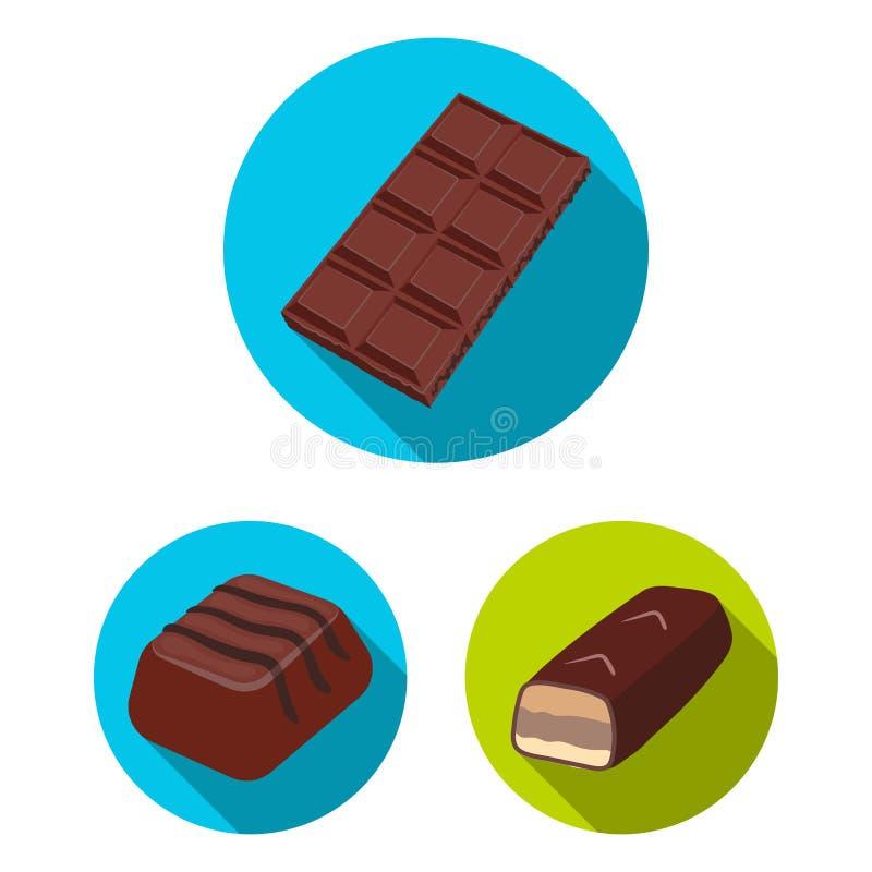 Projeto do vetor do símbolo do chocolate e do sabor Ajuste do ícone do vetor do chocolate e do pedaço para o estoque ilustração stock