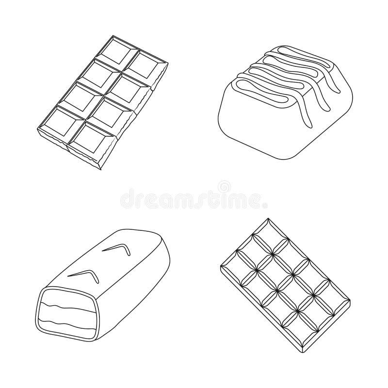 Projeto do vetor do símbolo do chocolate e do sabor Coleção do símbolo de ações do chocolate e do pedaço para a Web ilustração stock