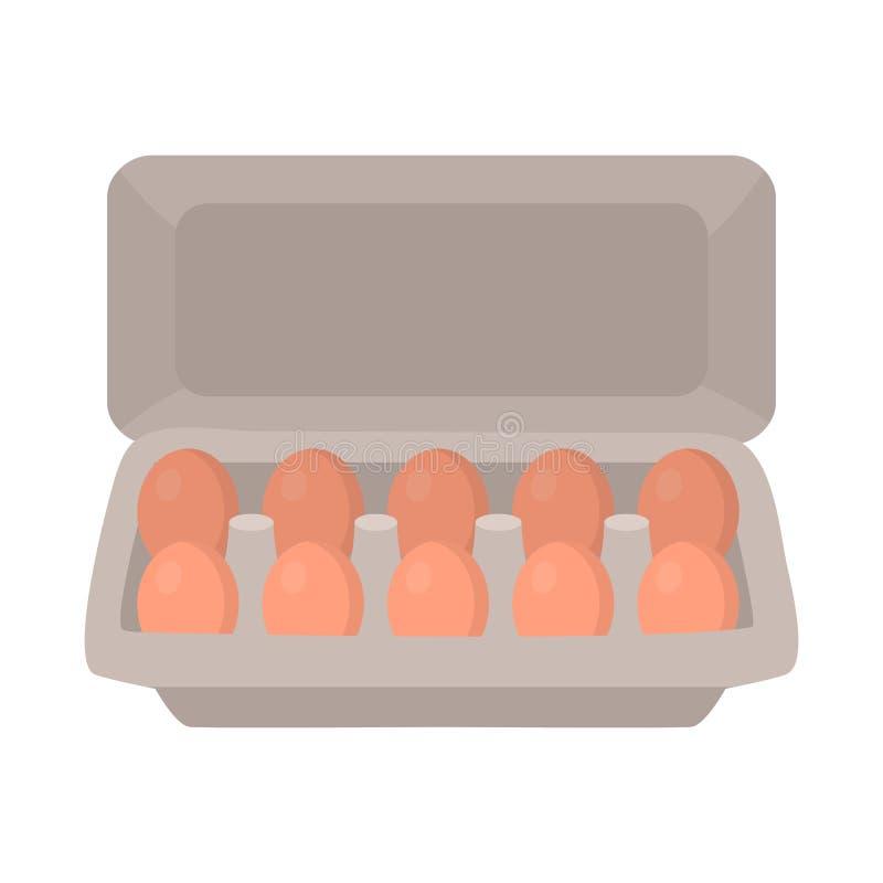 Projeto do vetor do símbolo da bandeja e do ovo Coleção da ilustração do vetor do estoque da bandeja e da caixa ilustração stock