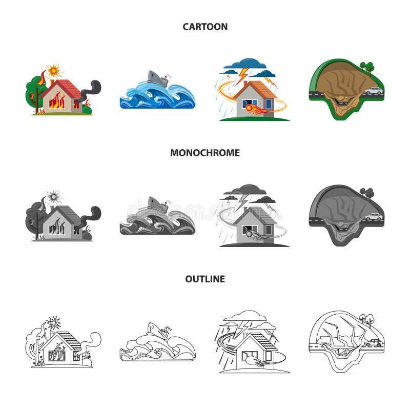 Projeto do vetor do símbolo natural e do desastre Grupo de ilustração conservada em estoque natural e do risco do vetor ilustração royalty free