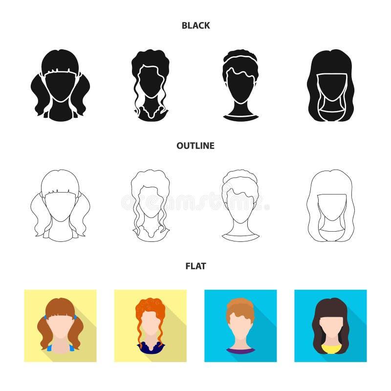 Projeto do vetor do símbolo do profissional e da foto Coleção do profissional e da ilustração do vetor do estoque do perfil ilustração stock