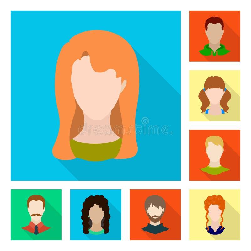 Projeto do vetor do sinal do avatar e do manequim Coleção do avatar e figura ícone do vetor para o estoque ilustração stock