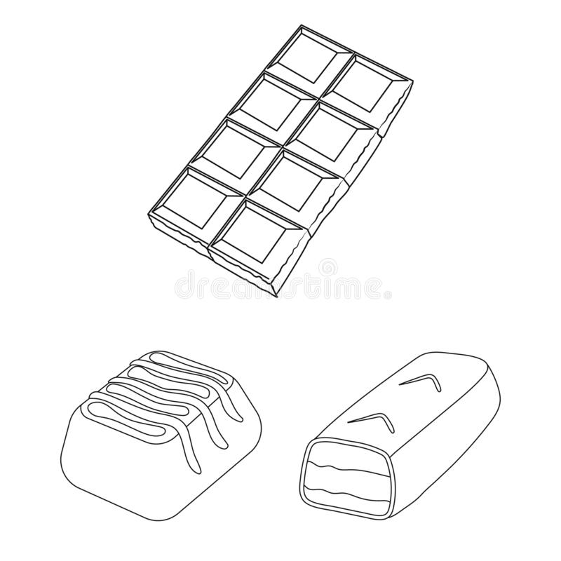 Projeto do vetor do sinal do chocolate e do sabor Coleção do símbolo de ações do chocolate e do pedaço para a Web ilustração royalty free