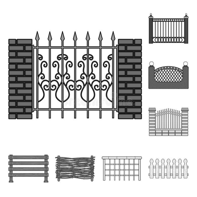 Projeto do vetor do sinal da porta e da cerca Coleção da ilustração do vetor do estoque da porta e da parede ilustração stock