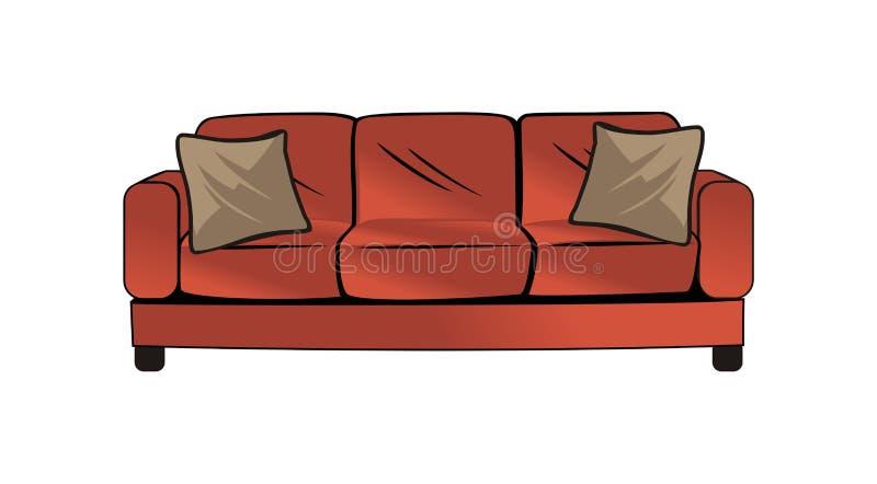 Projeto do vetor do sofá ilustração royalty free