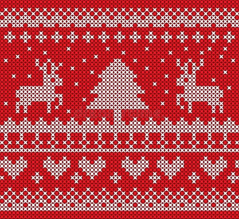 Projeto do vetor do teste padrão da malha do Natal no fundo vermelho ilustração royalty free