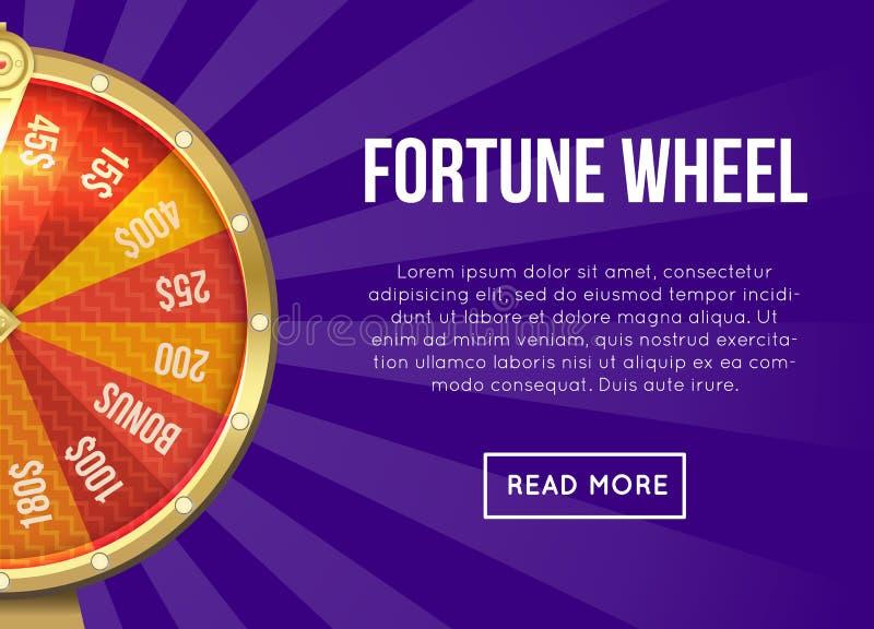Projeto do vetor do Web page sobre a roda da fortuna ilustração stock