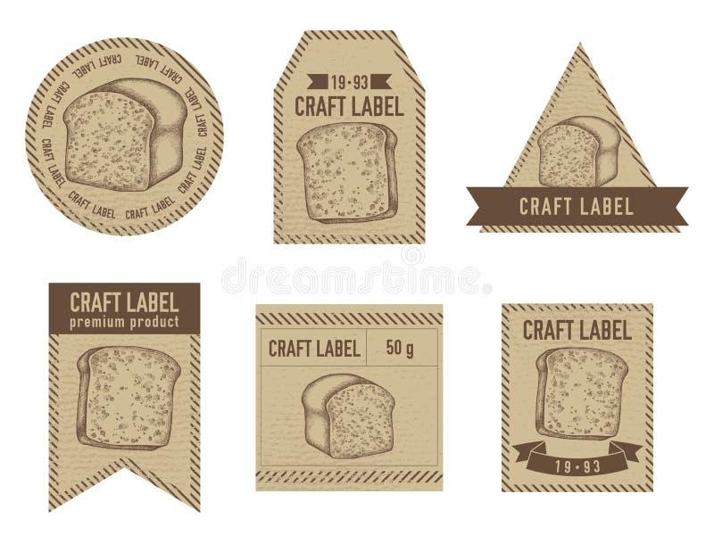 Projeto do vintage das etiquetas do ofício com ilustração dos croissant e do pão ilustração do vetor
