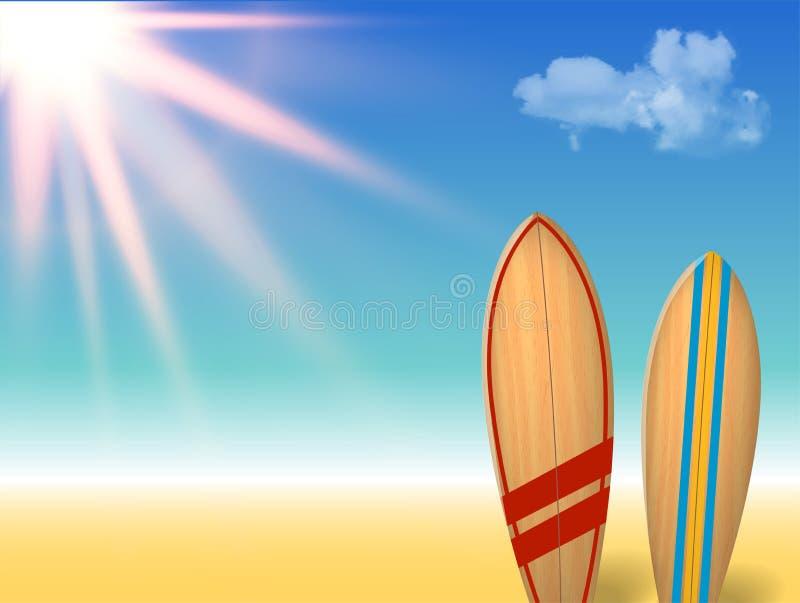 Projeto do vintage dos feriados do vetor - prancha em uma praia contra um seascape ensolarado ilustração do vetor