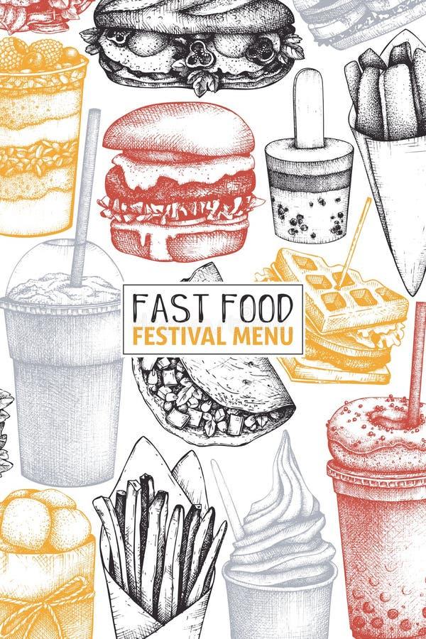 Projeto do vintage para o restaurante do fast food Molde do menu do alimento da rua do vetor com o hamburguer tirado mão, milk sh ilustração stock