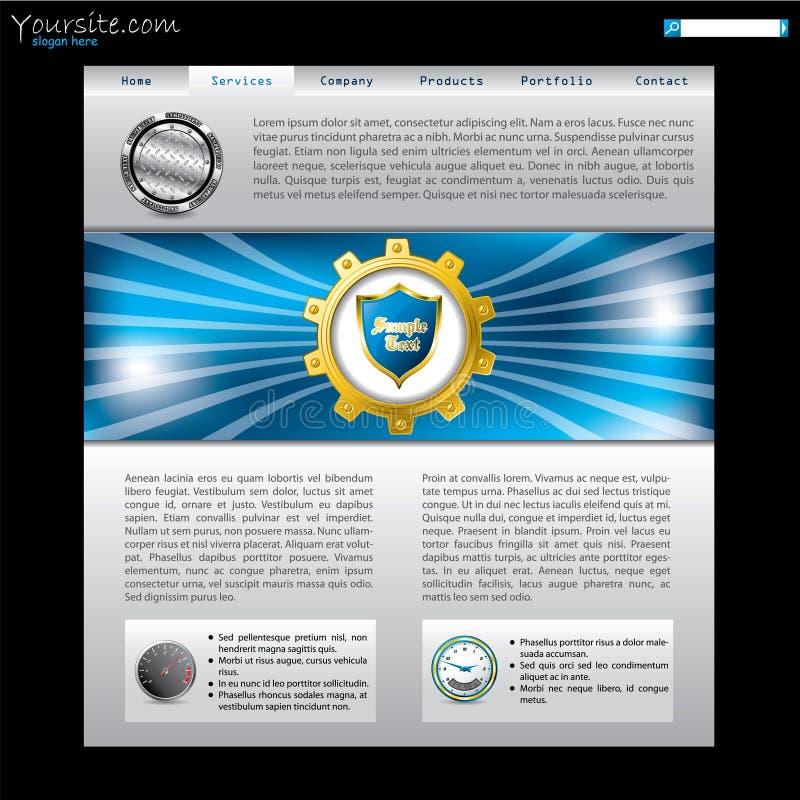 Projeto do Web site com roda denteada dourada ilustração royalty free