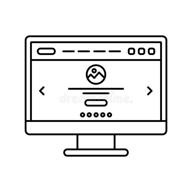 Projeto do Web site no ícone alinhado tela de computador Página da aterrissagem na linha ícone do monitor Interface de utilizador ilustração do vetor