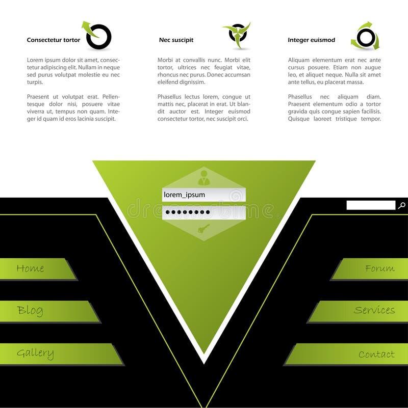 Projeto do Web site no verde e no preto ilustração royalty free