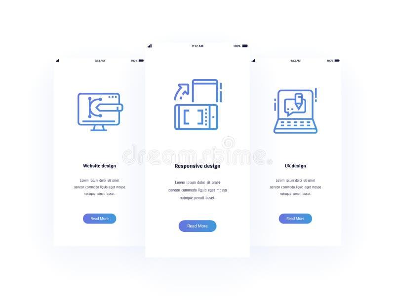 Projeto do Web site, responsivo, cartões verticais de UX com metáfora fortes ilustração royalty free