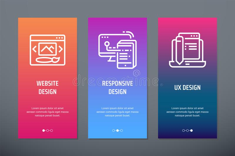 Projeto do Web site, projeto responsivo, cartões verticais do projeto de UX com metáfora fortes ilustração royalty free