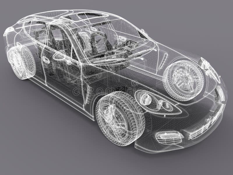 projeto do wireframe do carro 3D ilustração royalty free
