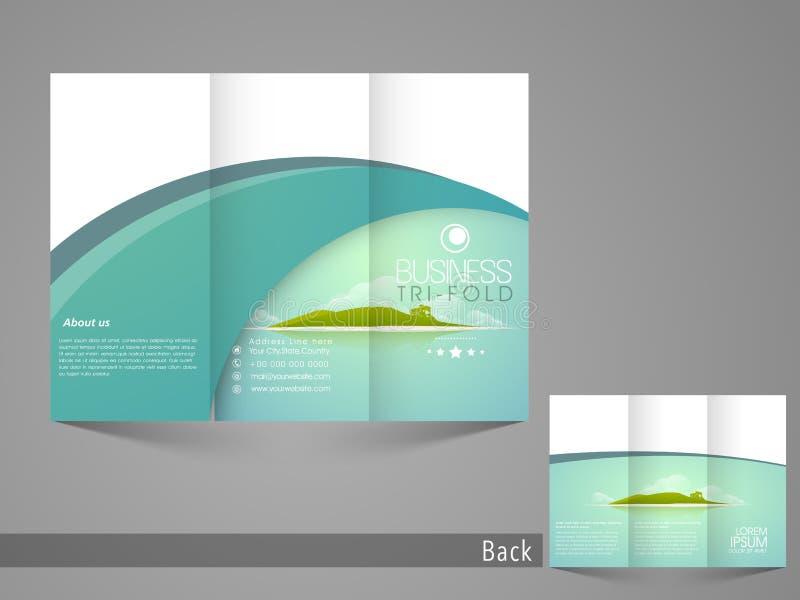Projeto dobrável em três partes à moda do inseto, do broucher ou do catálogo para a excursão e o curso ilustração stock