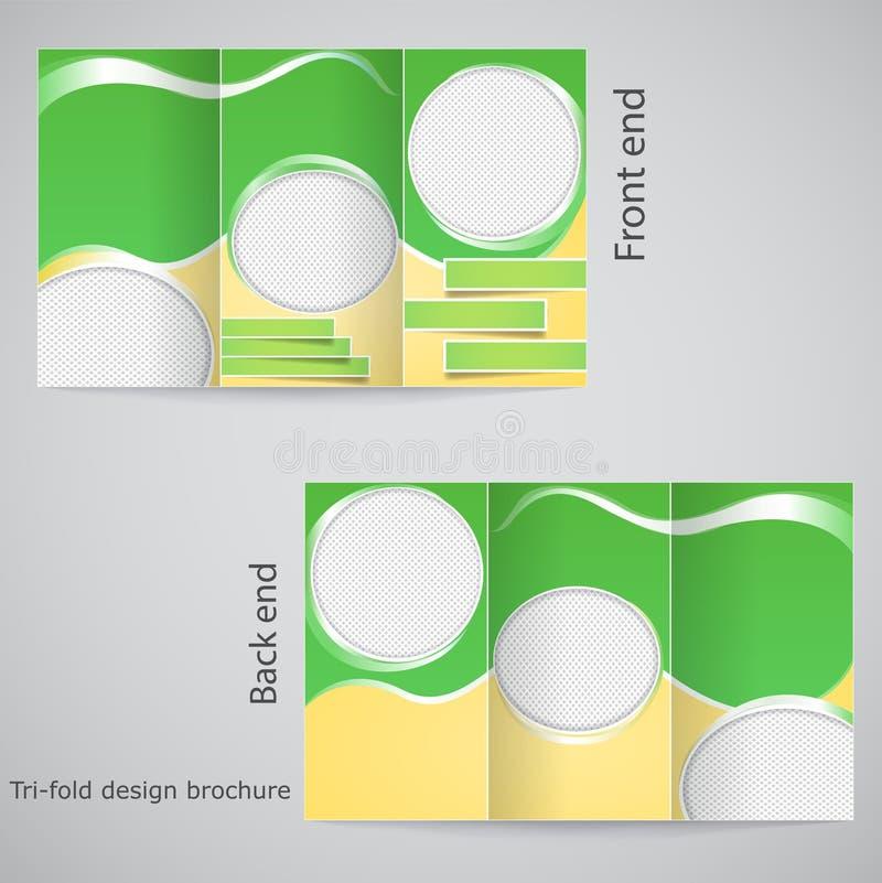 Projeto dobrável em três partes do folheto. ilustração stock