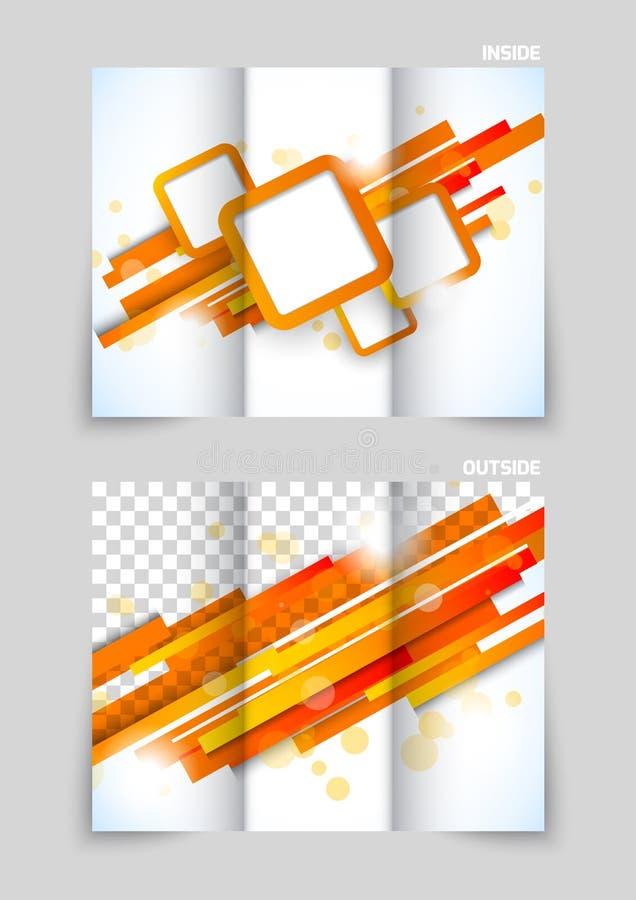 Projeto dobrável em três partes do molde do folheto ilustração royalty free