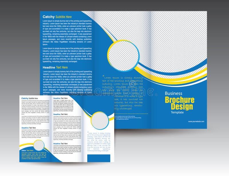 Projeto dobrável em três partes do molde do folheto da empresa ilustração stock