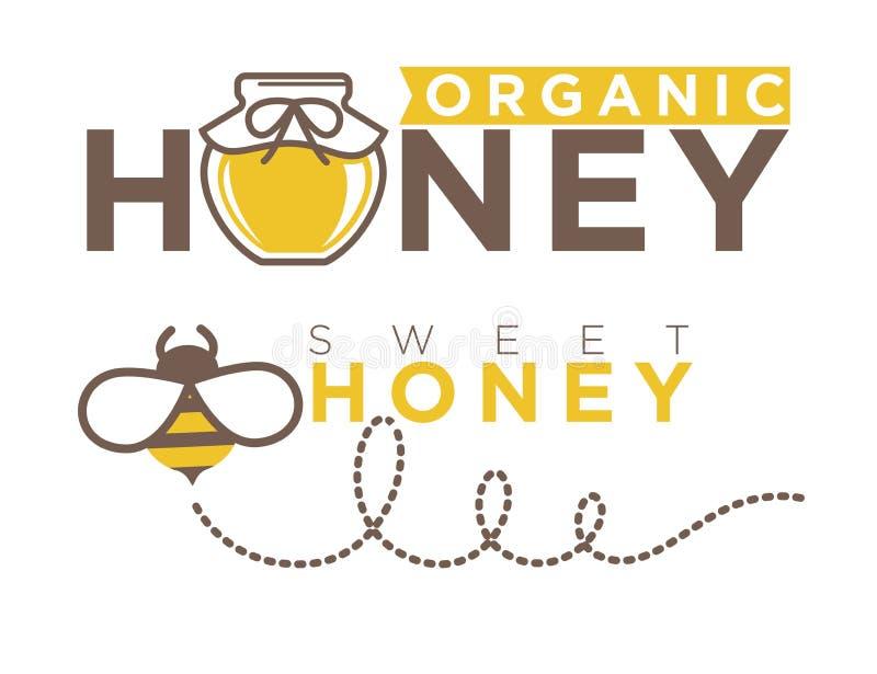 Projeto doce orgânico do logotipo do mel no estilo liso Ilustração do vetor ilustração royalty free