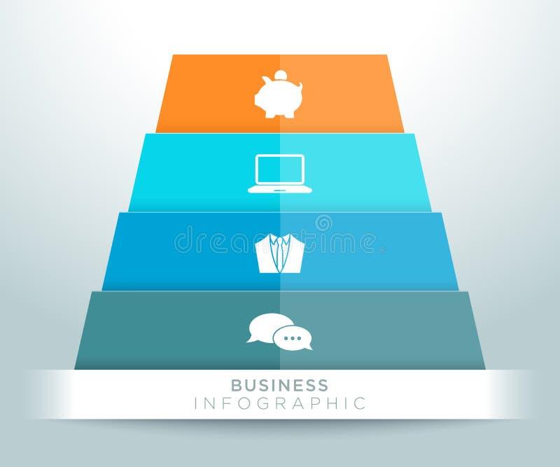 Projeto dos ícones da pirâmide de Infographic 3d ilustração royalty free