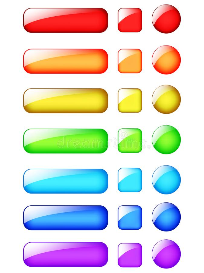 Projeto dos botões da Web do arco-íris ilustração do vetor