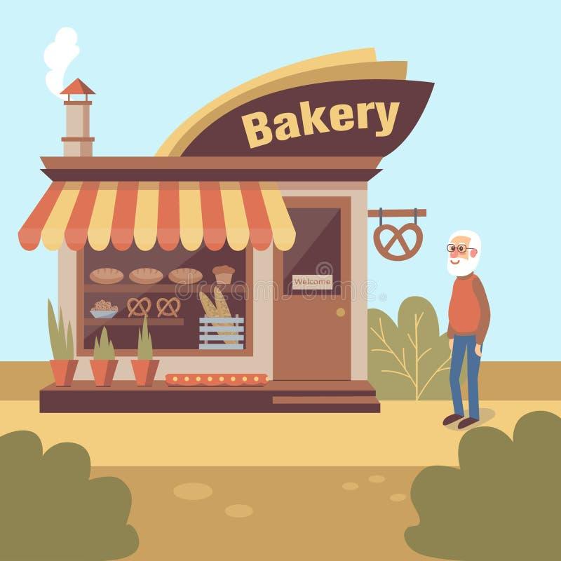 Projeto dos desenhos animados com o ancião cinzento-farpado que está a construção de loja próxima da padaria ilustração do vetor