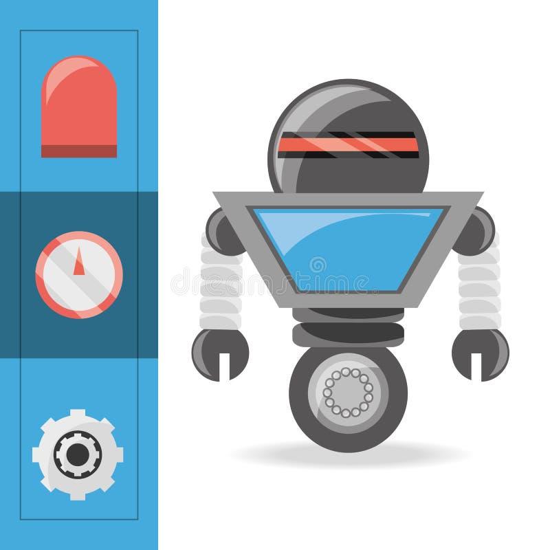 projeto dos desenhos animados do robô ilustração do vetor