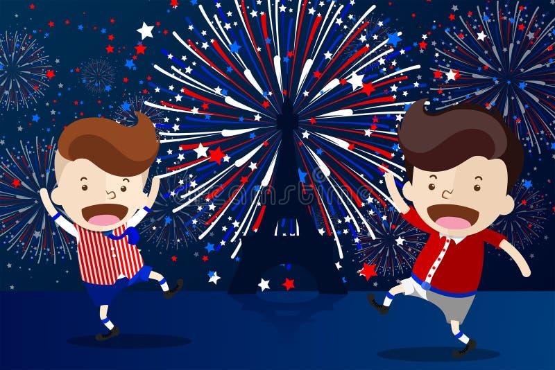Projeto dos desenhos animados para 'o dia de Bastille francês de 14 Juillet ' ilustração stock