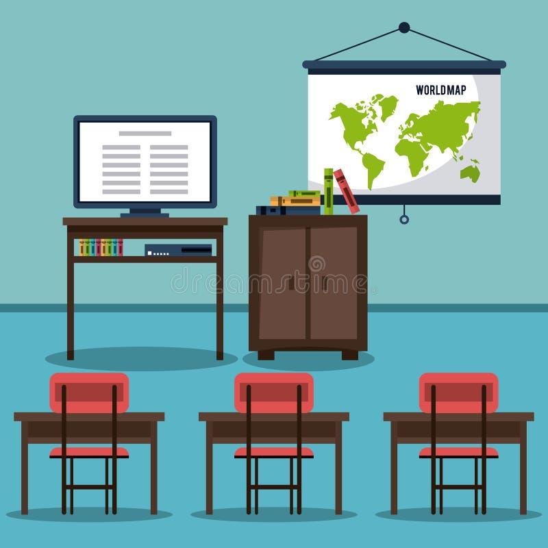 Projeto dos elementos da sala de aula ilustração royalty free