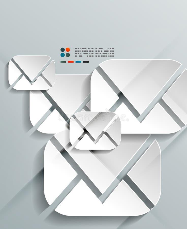 projeto dos envelopes do papel 3d ilustração royalty free