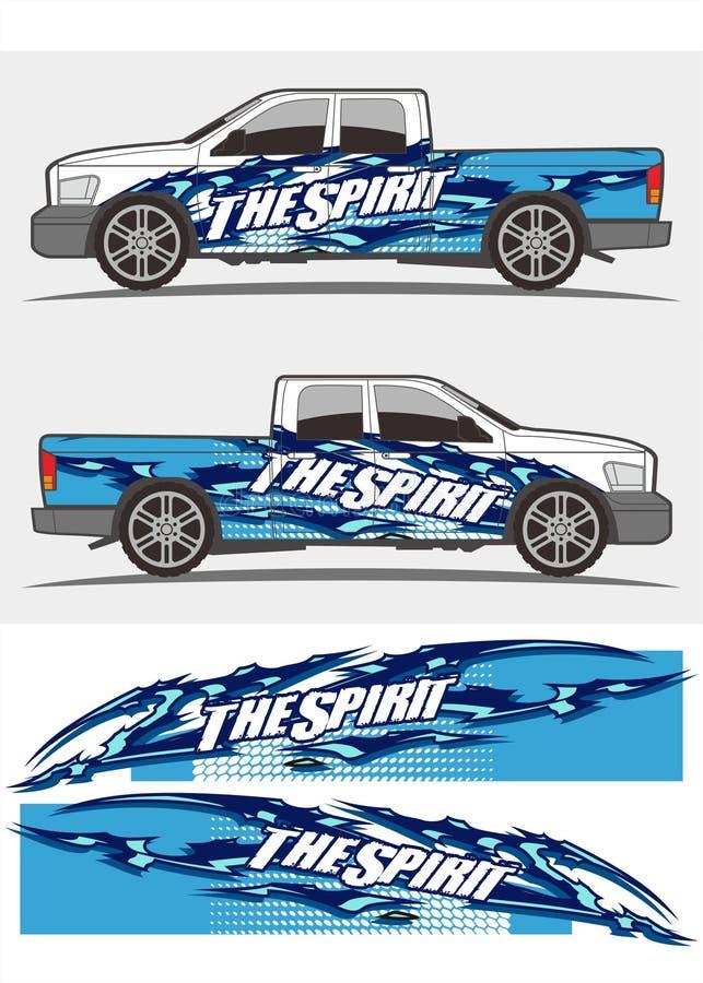 Projeto dos jogos dos gráficos do decalque do caminhão e do veículo ilustração do vetor