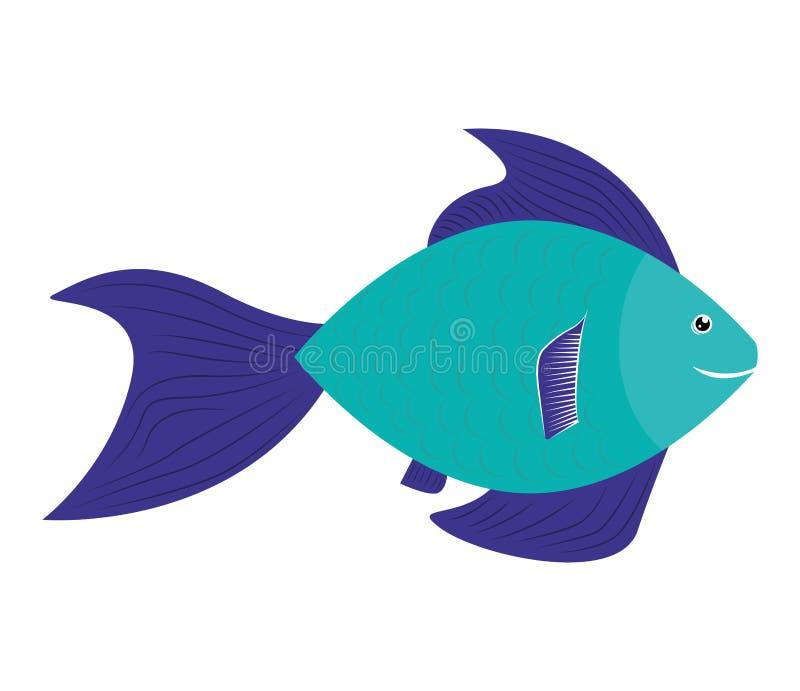 Projeto dos peixes sobre o fundo Ícone da vida marinha, grap do vetor ilustração stock
