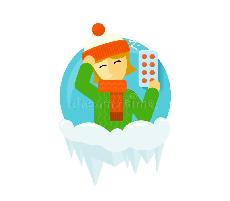 Projeto dos povos da estação da doença do inverno ilustração stock