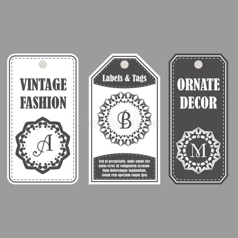 Projeto dos quadros do vetor Grupo do vintage de etiquetas decorativas Decoração oriental com monogramas Etiquetas do molde para  ilustração do vetor